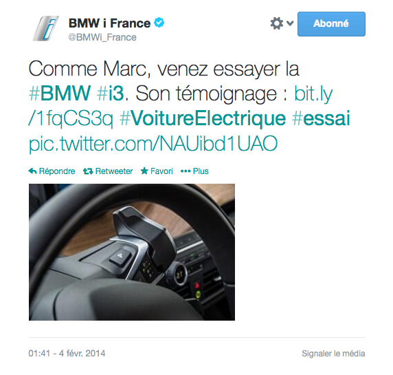 Tweet officiel BMW France